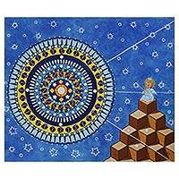 'Angel Gaze' - Mandala Motif Surrealist Painting with an Angel from Brazil