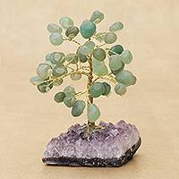 Quartz gemstone tree, 'Verdant Leaves' - Quartz Gemstone Tree with an Amethyst Base from Brazil