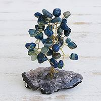 Agate gemstone tree, 'Cool Leaves' - Blue Agate Gemstone Tree with an Amethyst Base from Brazil