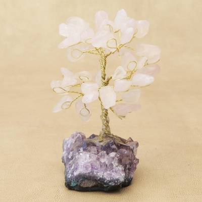 Rose quartz gemstone tree, 'Sweet Leaves' - Rose Quartz Gemstone Tree with an Amethyst Base from Brazil