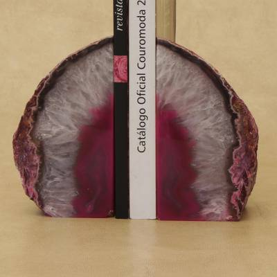 Agate bookends, 'Lovely Crystal' - Agate Geode Bookends with a Pink Core from Brazil