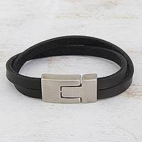 Faux leather wristband bracelet, 'Bold Overlap' - Modern Faux Leather Wristband Bracelet from Brazil