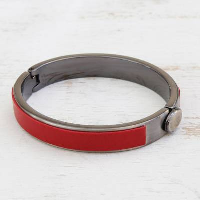 Steel and faux leather bangle bracelet, 'Modern Statement in Red' - Steel and Red Faux Leather Bangle Bracelet from Brazil