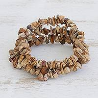 Jasper beaded stretch bracelets 'Earth Friendship' (set of 3) - Earthen Jasper Beaded Stretch Bracelets (Set of 3)