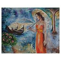 'Dream in Venice' - Signed Expressionist Painting of a Woman in Venice