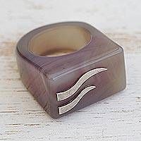 Agate signet ring, 'River Deep' - Purple-Grey Agate with Sterling Silver Accent Cocktail Ring