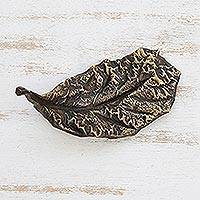 Bronze sculpture, 'Almond Leaf' - Signed Bronze Almond Leaf Sculpture from Brazil