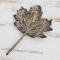 Bronze sculpture, 'Broad Leaf' - Signed Fine Art Bronze Leaf Sculpture from Brazil