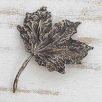 Bronze sculpture, 'Fine Leaf' - Fine Art Bronze Leaf Sculpture Created in Brazil