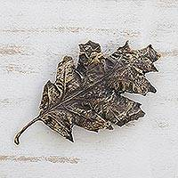 Bronze sculpture, 'Fine Fall' - Signed Antiqued Bronze Leaf Sculpture from Brazil