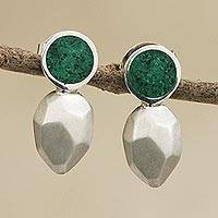 Malachite drop earrings, 'Gorgeous Goddess' - Malachite and Sterling Silver Modern Drop Earrings