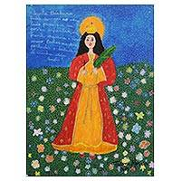'Saint Barbara in Prayer' - Signed Naif Painting of Saint Barbara from Brazil