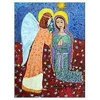'Annunciation' - Signed Christian Naif Painting by a Brazilian Artist