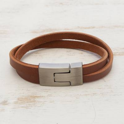 Mens faux leather wristband bracelet, In the Mix in Tan