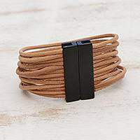 Leather strand bracelet, 'Powerful Together in Tan' - Tan Leather Cord and Stainless Steel Strand Bracelet