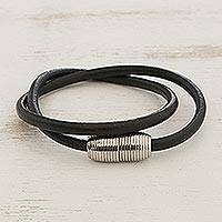 Men's leather wrap bracelet, 'Double Attraction' - Men's Black Leather Cord Wrap Bracelet Steel Magnetic Clasp
