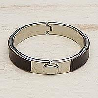 Faux leather wristband bracelet, 'Surrounded in Strength' - Unisex Steel and Brown Faux Leather Wristband Bracelet
