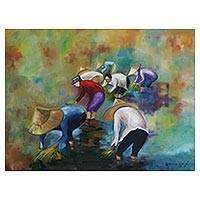 'Harvest in Hanoi' - Signed Expressionist Painting of Vietnamese Harvesters