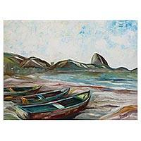 'Six Copacabana Tour' - Signed Impressionist Painting of Beached Boats from Brazil