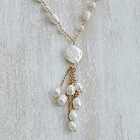 Gold-plated cultured pearl pendant necklace, 'Multitude Glow' - Cultured Pearl Link-Style Pendant Necklace from Brazil