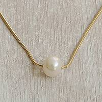 Gold plated cultured pearl pendant necklace, 'Sole Glow' - Gold Plated Cultured Pearl Pendant Necklace from Brazil