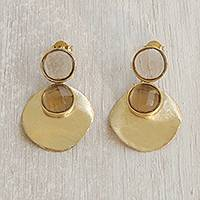 Gold plated smoky quartz dangle earrings, 'Glittering Magnitude' - Gold Plated Smoky Quartz Dangle Earrings from Brazil