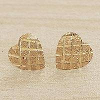 Gold stud earrings, 'Glittering Romance' - Heart-Shaped Solid 10k Gold Stud Earrings from Brazil