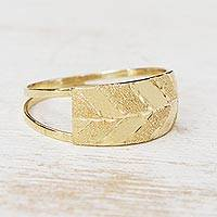 Gold band ring, 'Glittering Texture' - Combination-Finish 10k Gold Band Ring from Brazil
