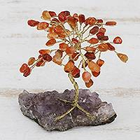 Carnelian gemstone sculpture, 'Little Tree' - Carnelian and Amethyst Gemstone Tree Sculpture from Brazil