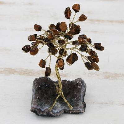 Tiger's eye gemstone sculpture, 'Little Tree' - Tiger's Eye and Amethyst Gemstone Tree Sculpture from Brazil
