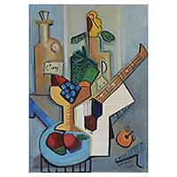 'Memories' - Signed Cubist Still Life Painting from Brazil
