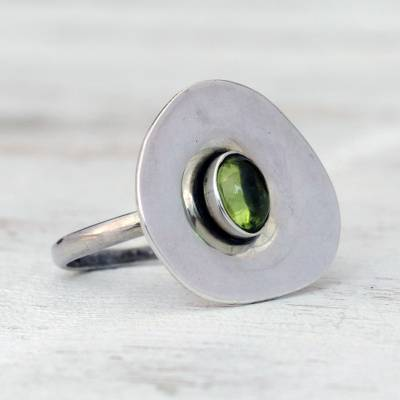 Peridot cocktail ring, 'Verdant Pool' - Modern Peridot Cocktail Ring from Brazil
