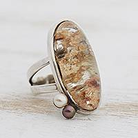 Rutilated quartz and cultured pearl cocktail ring, 'Oval Magnitude' - Rutilated Quartz and Cultured Pearl Cocktail Ring
