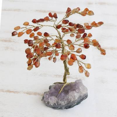 Carnelian gemstone tree, 'Mystical Tree' - Handmade Carnelian Gemstone Tree Crafted in Brazil