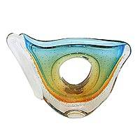 Art glass vase, 'Blue and Amber' (9.5 inch) - Blue and Amber-Hued Art Glass Vase (9.5 Inch)