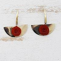 Gold accent wood and horn dangle earrings, 'Rose Half-Moon' - Gold Accent Horn Earrings with a Wooden Rose