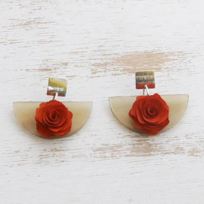 Wood and horn dangle earrings, 'Orange Rose Half-Moon' - Natural Horn Earrings with a Wooden Orange Rose