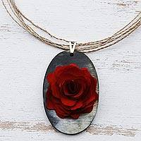 Wood and horn pendant necklace, 'Red Rose Allure' - Hand Carved Red Rose and Grey Horn Pendant Necklace