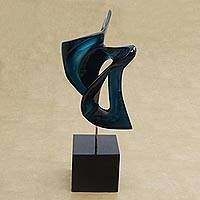 Resin sculpture, 'Blue Birds' - Abstract Fine Art Resin Sculpture in Metallic Blue