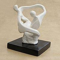 Resin sculpture, 'No One Lets Go' - Abstract Unity-Themed White Resin Sculpture from Brazil