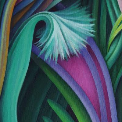 'Charmed Garden' - Signed Floral Surrealist Painting from Brazil