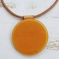 Glass pendant necklace, 'Round Sun' - Yellow-Orange Round Glass Pendant Necklace from Brazil