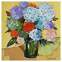 'Vase with Hydrangeas' - Signed Still Life Painting of Hydrangeas from Brazil