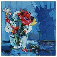 'Vase with Flowers' - Floral Still Life Painting in Blue from Brazil