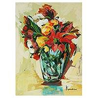 'Vase of Field Flowers' - Impressionist Still Life Painting of Field Flowers