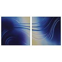Diptych, 'Like a Wave in the Sea' (2008) - Signed Abstract Wave Diptych Painting from Brazil (2008)