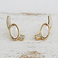 Gold plated quartz drop earrings, 'Oval Crystals' - Gold Plated Quartz Drop Earrings with Rhodium from Brazil