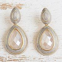 Gold plated quartz dangle earrings, 'Stunning Drops' - Gold Plated Quartz Dangle Earrings with Rhodium from Brazil