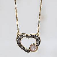 Gold accented drusy agate pendant necklace, 'Gleaming Romance' - Heart-Shaped Gold Accented Agate Quartz Pendant Necklace
