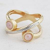 Gold plated rose quartz band ring, 'Cosmic Rings' - Gold Plated Rose Quartz Band Ring from Brazil